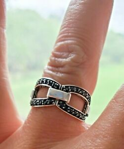 John Hardy Black Sapphire Sterling Silver Ring JUST GORGEOUS! Sz 7.5 Fits 7