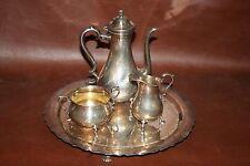 Vintage 4-pc International Silverplate Tea Set w/ Teapot, Cream, Sugar, and Tray
