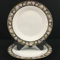 Set of 2 VTG Dinner Plates Noritake Rima Multi Floral Black Gold Rim 6906 Japan