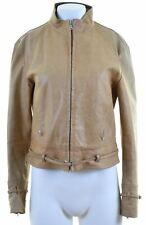 GIANFRANCO FERRE Womens Leather Jacket Size 14 Medium Brown Leather  HA04