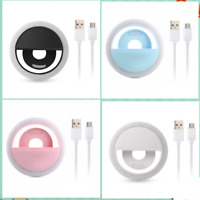 Selfie Rechargeable LED Fill Light Ring Clip Camera For Phones Laptop Tablets Uk