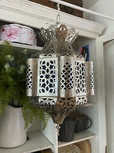 Moroccan Silver Large Metal Stained Glass Hanging Lantern