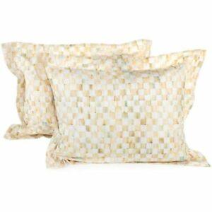 Retired Mackenzie Childs PARCHMENT CHECK (Standard) Pillow SHAMS (Setof2) m21-au