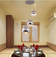 Plated Chrome Glass Ball Pendant Light Chandeliers DIY Home Deco Ceiling Fixture