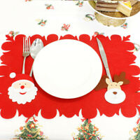 CG_ DV_ Christmas Dining Table Mat Bowl Knife Placemat Decor for Xmas Dinner Par