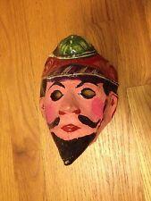 Paper Mache Original Purim Mask Haman Rare Antique 1960s Judaica Jewish Look!