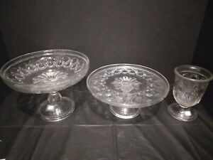 EAPG BRYCE BROTHERS RIBBON LACE COMPOTE, CAKE PLATE AND SPOONER SET