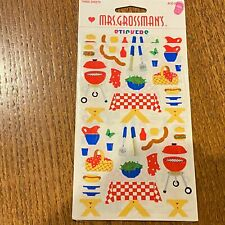 NIP Mrs. Grossman's Stickers 1998 Picnic Table Grill Basket Hot Dog 3 Sheets