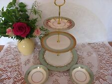 Stunning Vintage Aynsley gold & green bone china 3 tier cake stand ,2 bowls