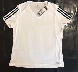 Ladies ADIDAS CLIMALITE 3S Running Short Sleeve T Shirt Top Size XL White