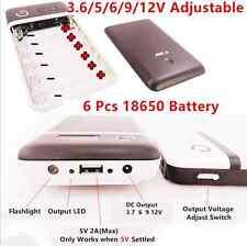 3.6/5/6/9/12V Mobile Power Bank USB DC 6x18650 Battery Charger Car Jump Starter