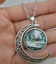 Mad Hatter's Tea Party,Alice in wonderland Hollow Moon Pendant Silver Necklace