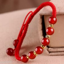 Fashion Pure 24K Yellow Gold 4mm Bead & Red Agate Bead Bless Knitted Bracelet