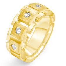 0.40 Ct Round Princess Men's Diamond Wedding VS1 Ring 14k Gold Yellow Band 8.6mm