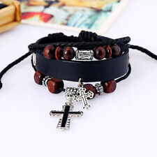 Hot Vintage Punk Cross Leather Beads Cuff Bangle Charm Women Men Bracelet