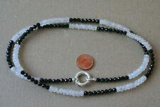 Modulkette-Mondstein+Spinell(Weiß+Schwarz, L=67 cm) Silber M-1553/M