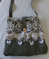 Handmade Quilted Cotton Bag  Green Purse WHITE LACE BUTTON CLOSE LONG HANDEL