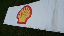 Unusual Shell Gas/Oil Large Temporary White Tarp Sign/Signage Man Cave/Garage