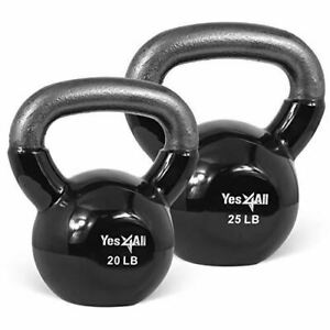 Yes4All Combo Special: Vinyl Coated Kettlebell Weight Sets – Black (20-25lbs)