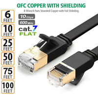 [6FT 10FT 25FT 50FT 75FT 100FT] Cat7 RJ45 Ethernet Flat Patch Networking Cable