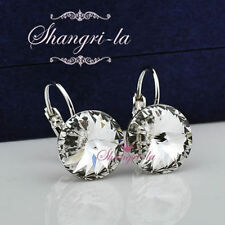 18K White GOLD GF Womens HOOP EARRINGS With SWAROVSKI CRYSTAL 6 COLOUR EX417