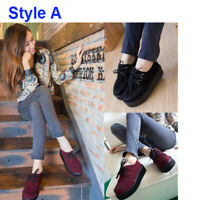 Women Ladies Flat Wedge Platform Creepers Shoes Lace Up Goth Punk Boo