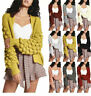 Womens Bobble Bubble Sleeve Knitted Cardigan Ladies Chunky Knit Jumper Sweater