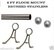 4 ft Brushed Stainless Steel Bar Foot Rail Kit- Floor Mount Style