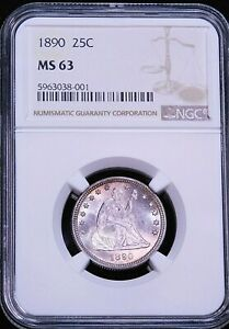 1890 Seated Liberty Quarter NGC MS63 Beautifully Struck Just Graded PQ #T