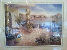 "Medatarainian Watercolor painting 16""x12"" Vinian Flasch  ""On the Terrace"""