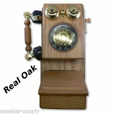 Golden Eagle Wooden Wall Crank Phone Oak Telephone Antique Vintage Mountable New