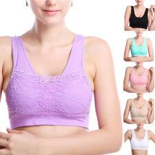Women Yoga Fitness Stretch Workout Tank Top Seamless Padded Lace Sports Bra