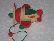 Vtg Hallmark Ornament 1988 Wooden Airplane Pull Toy #5