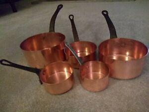 Vintage Set 4 French Copper Pans Cast Iron Handles.  Saucepans Kitchen Metalware