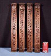 "*Set of Four 23"" French Antique Solid Walnut Trim Posts/Pillars/Columns Salvage"