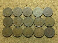 Indian Head Cent Penny Lot - 15 Coins - 1883 Through 1909