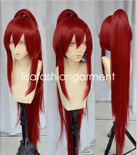 Fairy Tail Erza Scarlet Dark Red Cosplay Party Wig con Ponytails +1 Ponytail