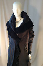 ERMANNO SCERVINO BLACK COAT WITH KNITTED TRIM RUFFLE AND DRAWSTRING SZ 48 GOOSE
