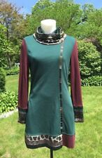 La-El Couture Turtleneck Tunic Long Sleeve Top Teal Animal Print Pockets Sz S