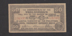 50 CENTAVOS VF GUERILLA BANKNOTE FROM JAPANESE OCCUPIED PHILIPPINES/BOHOL 1942