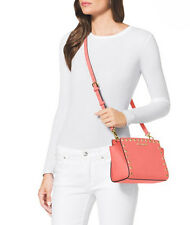 NEW Michael Kors SELMA STUD Medium Leather Messenger - Pink Grapefruit / Gold