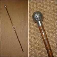 Antique Hallmarked 1911 Silver Golf Themed Walking Stick - 90cm