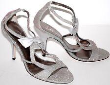 "Delman Vero Cuoio Italy 4"" Strappy Heels 8 Metallic Silver Spike Heel Sandal Bow"