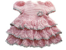 Crochet Baby Dress,Reborn Doll Clothes,Pink with a dash of silver