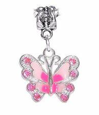 Pink Butterfly Rhinestone Enamel Dangle Charm for Silver European Bead Bracelets