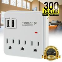 Multi 2 USB 3 Outlet Port Wall Tap Surge Protector Power Strip Adapter Charger