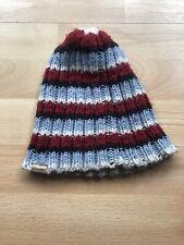 Striped Wool Hat. Claret, Light Blue. Mens One Size