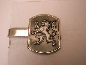 -Majestic Rampant Lion Vintage SWANK Tie Bar Clip coat of arms herald passant