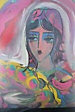 HRAZARKOS ORIGINAL      PORTRAIT  FEMME sur panneau   50/40cm