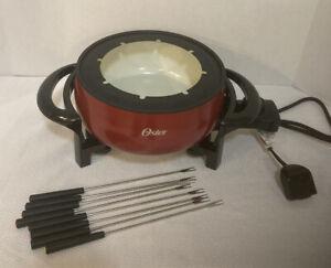 Oster Titanium Infused DuraCeramic Fondue Pot, 3 Quart, Eggshell/Red